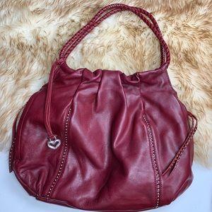 Brighton Red Hobo Leather Shoulder Bag Studded
